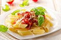 Penne pasta with bolognese sauce on white wooden table selective focus Stock Photography