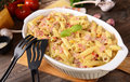 Penne pasta casserole with cheese Royalty Free Stock Photo