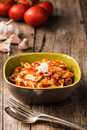Penne Pasta with Chorizo Creamy Tomato Sauce Royalty Free Stock Photo