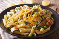 Penne pasta with grilled chicken, fresh herbs and lemon sauce cl Royalty Free Stock Photo