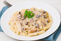 Penne pasta with mushroom sauce on plate Royalty Free Stock Photo