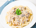 Penne pasta with mushroom sauce on plate Stock Images