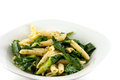 Penne pasta and spinach in a garlic olive oil sauce Royalty Free Stock Photo