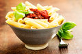 Penne pasta with a tomato bolognese beef sauce Royalty Free Stock Photo