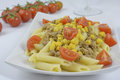 Penne regatta with tuna and corn tomatoes Royalty Free Stock Photo