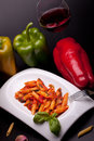 Penne Rigate With Peppers Royalty Free Stock Images