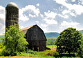 Pennsylvania farm barn and silo in the amish countryside of Stock Image