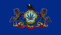 Pennsylvania state flag with marijuana leaf