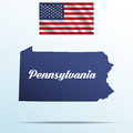 Pennsylvania state with shadow with USA waving flag