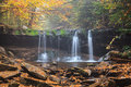 Pennsylvania waterfall foggy autumn morning the foot oneida in ricketts glen state park is barely flowing on this in where fallen Royalty Free Stock Photos