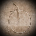 Penny farthing bicycle - 3D render Royalty Free Stock Photo