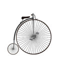 Penny-farthing or high wheel bicycle Isolated on white backgrou Royalty Free Stock Photo