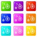 Penny-farthing icons 9 set Royalty Free Stock Photo