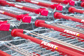 Penny shopping carts discounter with copy space Royalty Free Stock Photos