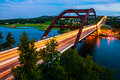 Pennybacker Bridge 360 highway Colorful Vivid Summer Colorado river Royalty Free Stock Photo