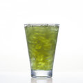 Pennywort or asiatic cold herbal drink in glass on white background Stock Photo