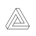 Penrose triangle icon. Geometric 3D object optical illusion. Black outline vector illustration