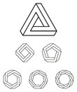 Penrose triangle and polygons outline