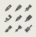 Pens and brushes for drawing set of simple icons vector illustration Royalty Free Stock Photos