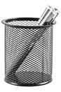 Pens in a pen holder in form of a black trash can Royalty Free Stock Photo