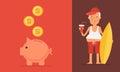Pension Concept Elderly Man and Piggy Bank