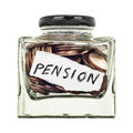Pension a small glass jar of coins isolated on a white background Stock Photography