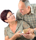 Pensioner couples happy anniversary Royalty Free Stock Photo