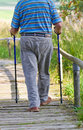 Pensioner walking on a wooden path in nature Royalty Free Stock Photo