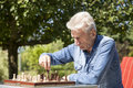 Pensioners playing chess in his garden Stock Image