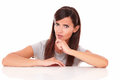 Pensive adult brunette asking a question Royalty Free Stock Photo