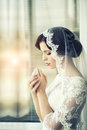 Pensive brunette bride Royalty Free Stock Photo