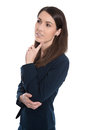 Pensive business woman touching chin isolated on white attractive Royalty Free Stock Photography