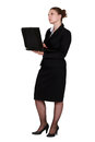 A pensive businesswoman with laptop Royalty Free Stock Photos