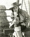 Pensive cowgirl Royalty Free Stock Image