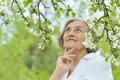 Pensive elderly woman Royalty Free Stock Photo