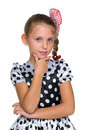 Pensive fashion young girl Royalty Free Stock Photo