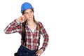 Pensive female builder Royalty Free Stock Photos
