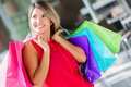 Pensive female shopper Stock Images