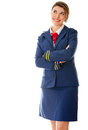 Pensive flight attendant Stock Images