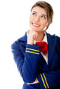 Pensive flight attendant Royalty Free Stock Images
