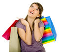 Pensive shopping girl Royalty Free Stock Photo