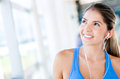 Pensive woman at the gym Royalty Free Stock Photo