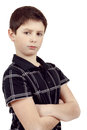 Pensive young boy isolated on white background with hand hand Royalty Free Stock Photography