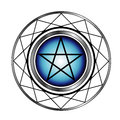 Pentacle with a glow religious symbol satanism Stock Photo