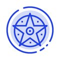 Pentacle, Satanic, Project, Star Blue Dotted Line Line Icon Royalty Free Stock Photo