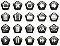 Pentagon shaped glassy buttons black Royalty Free Stock Photography