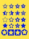 Pentagonal five point blue star collection on yellow background emblem icon design elements, vector illustration Royalty Free Stock Photo