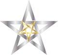 Pentagram reversed gold inside silver Royalty Free Stock Image