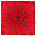 Pentagram symbol of satan on red background Stock Photography