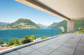 Penthouse terrace beautiful in a modern lake view Stock Photos